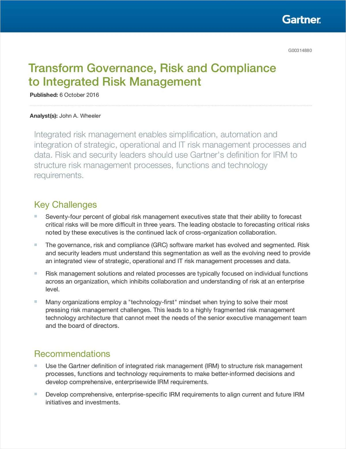 Transform Governance, Risk and Compliance to Integrated Risk Management