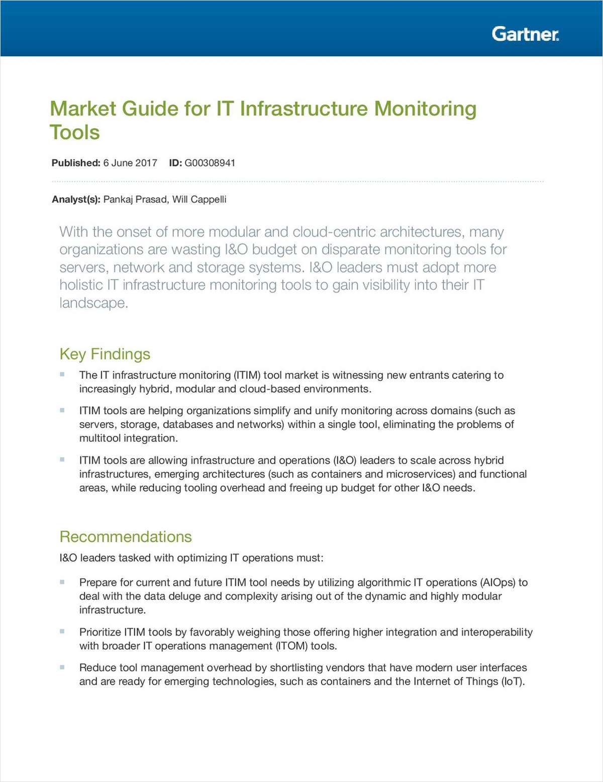 Market Guide for IT Infrastructure Monitoring Tools