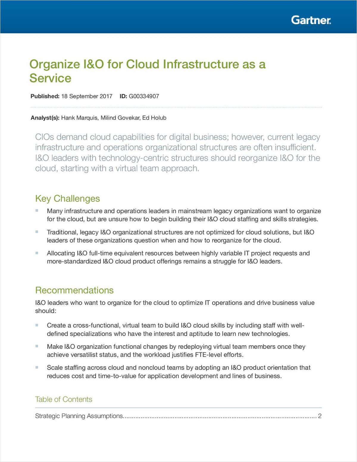 Organize I&O for Cloud Infrastructure as a Service