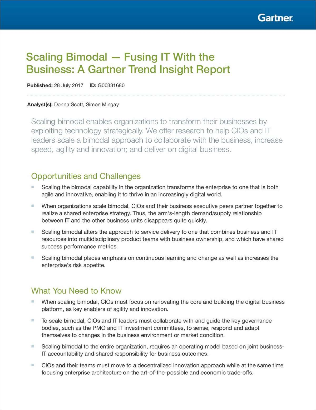 Scaling bimodal fusing it with the business a gartner trend scaling bimodal fusing it with the business a gartner trend insight report magicingreecefo Choice Image