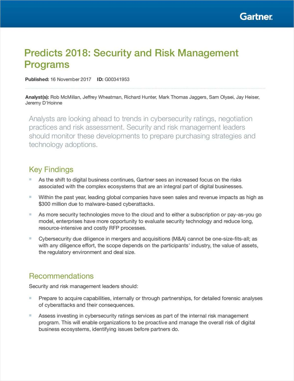Predicts 2018: Security and Risk Management Programs