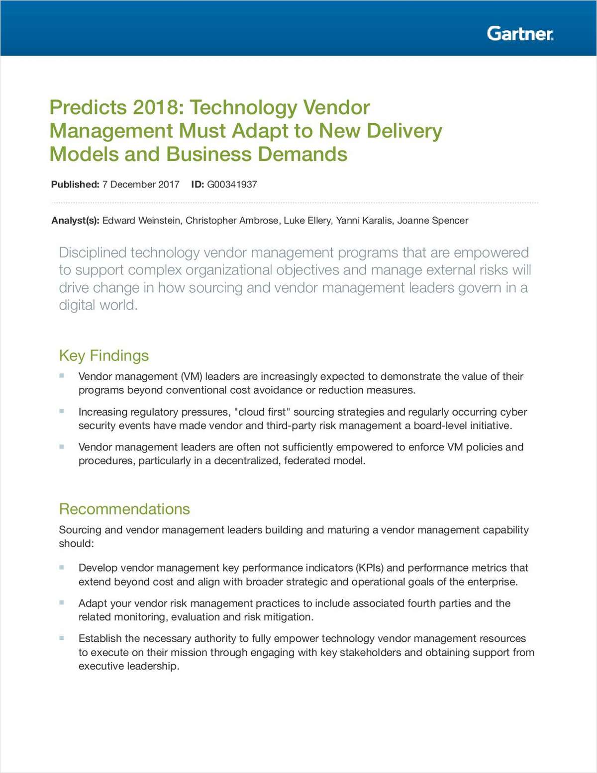 Predicts 2018: Technology Vendor Management Must Adapt to New Delivery Models and Business Demands