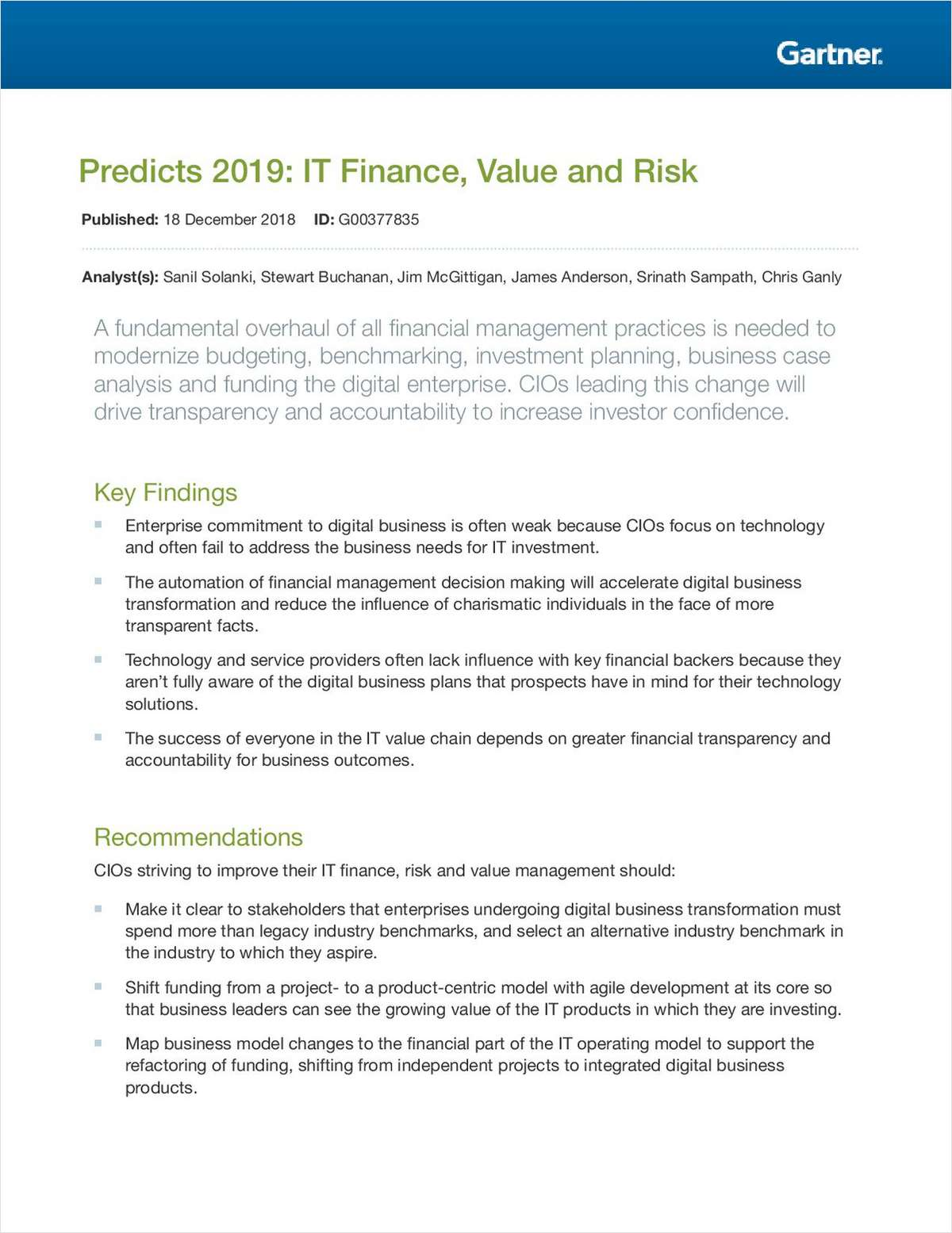Predicts 2019: IT Finance, Value and Risk
