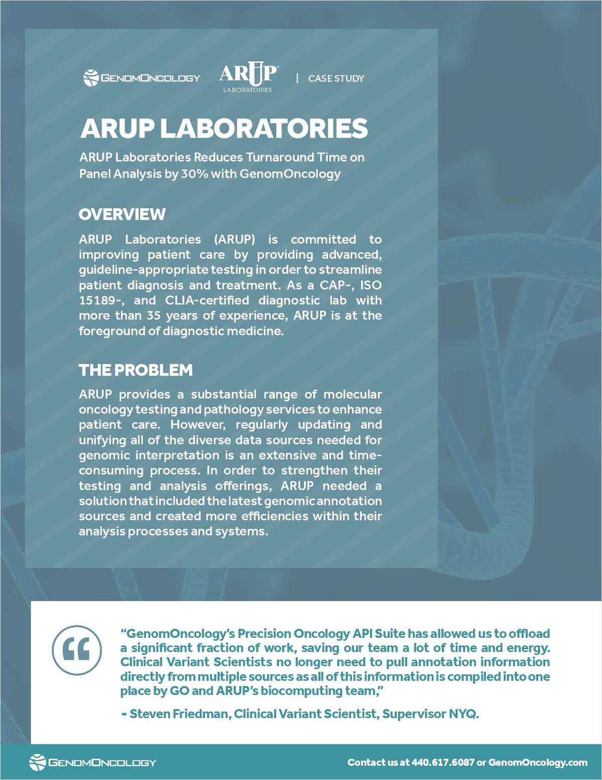 ARUP Laboratories Reduces Turnaround Time on Panel Analysis by 30 Percent with GenomOncology