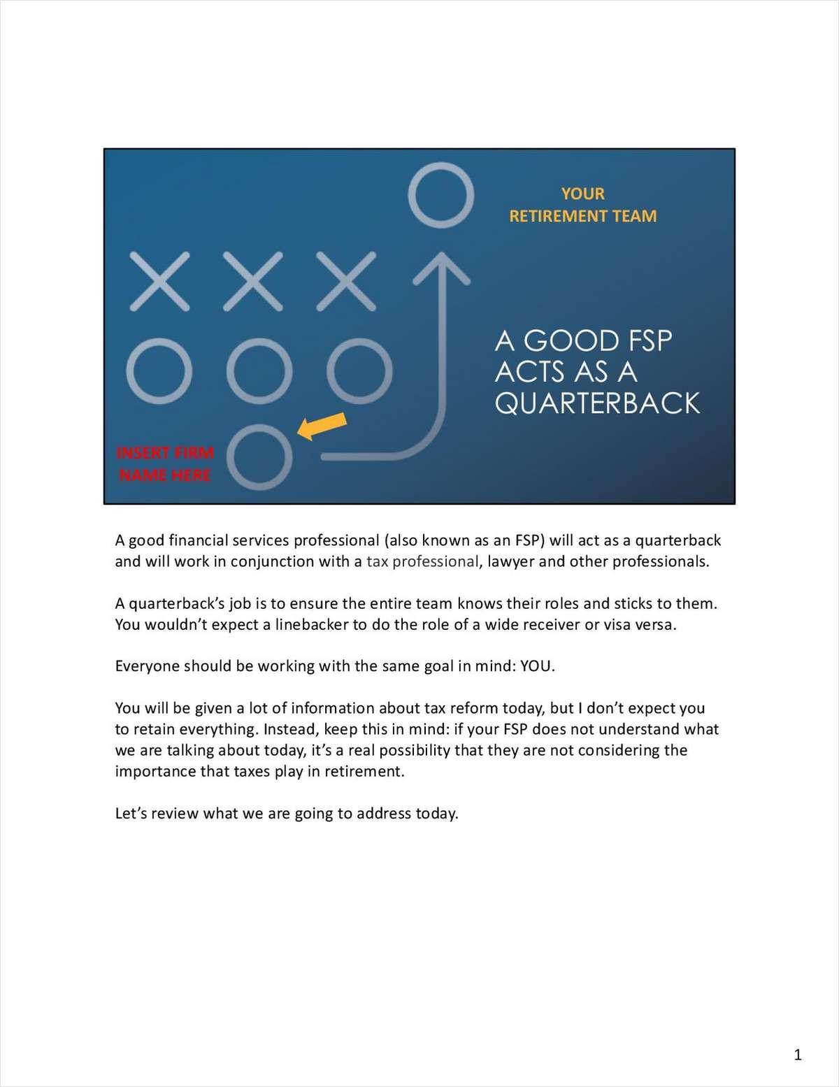 Advisor Presentation: A Good Financial Services Professional Acts As a Quarterback