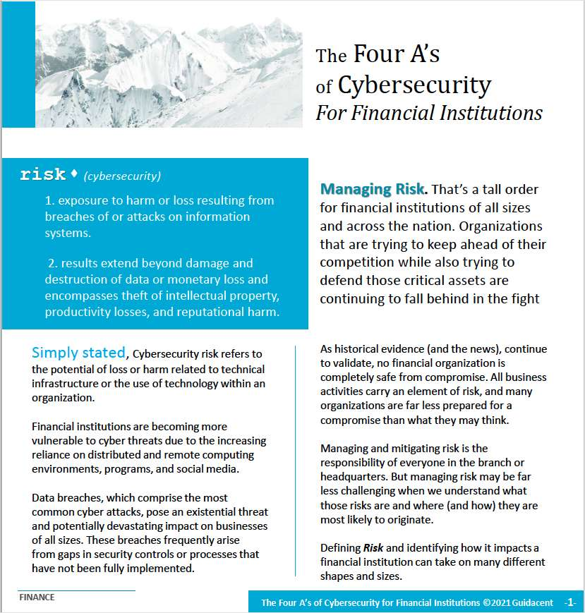 The Four A's of Cybersecurity For Financial Institutions