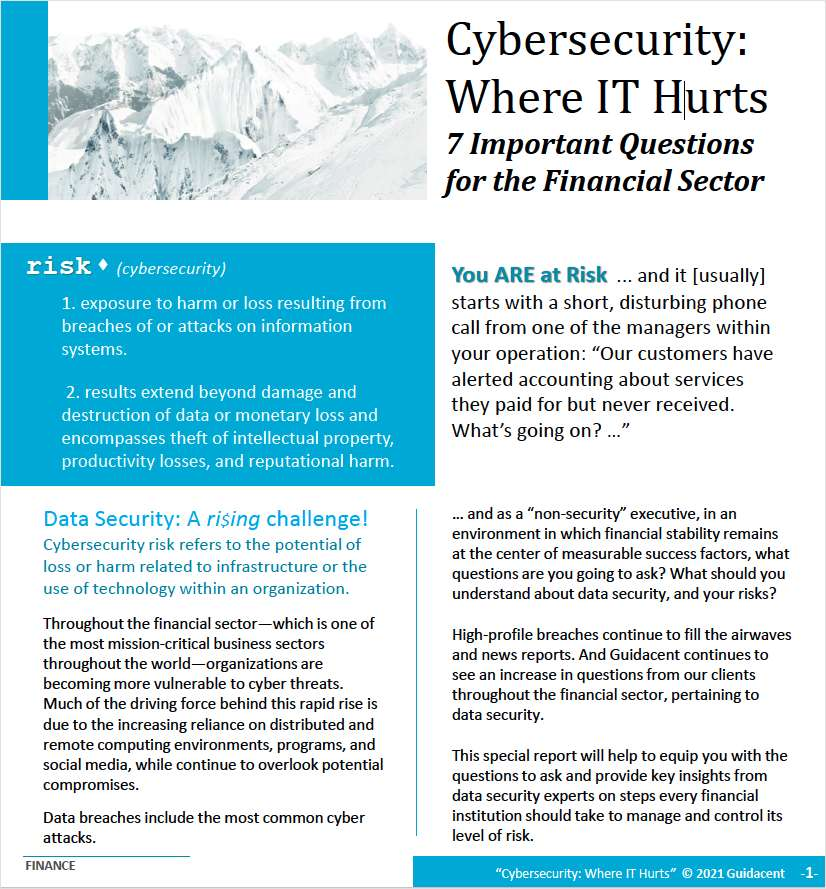 Are you at risk? 7 Important Questions For The Financial Sector