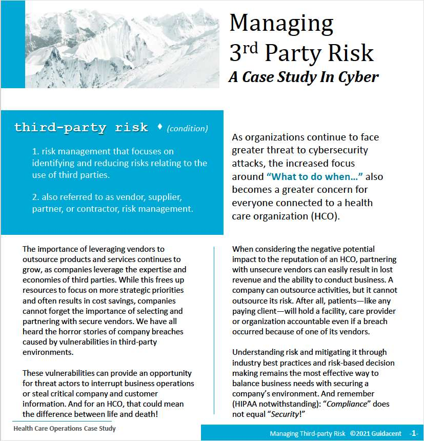 Managing 3rd Party Risk For Health Care Organizations