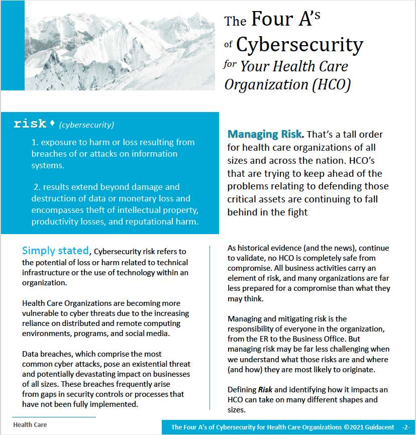 The Four A's of Cybersecurity For Health Care Organizations