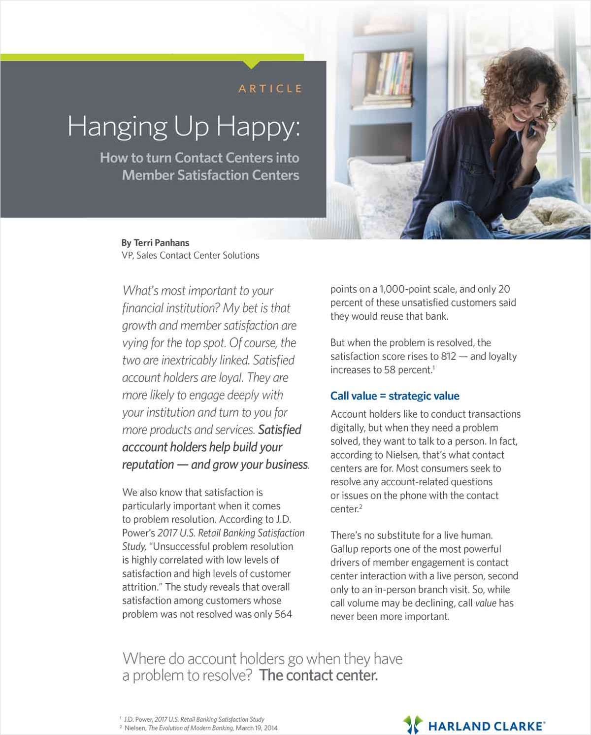 Hanging Up Happy: How to Turn Contact Centers Into Member Satisfaction Centers