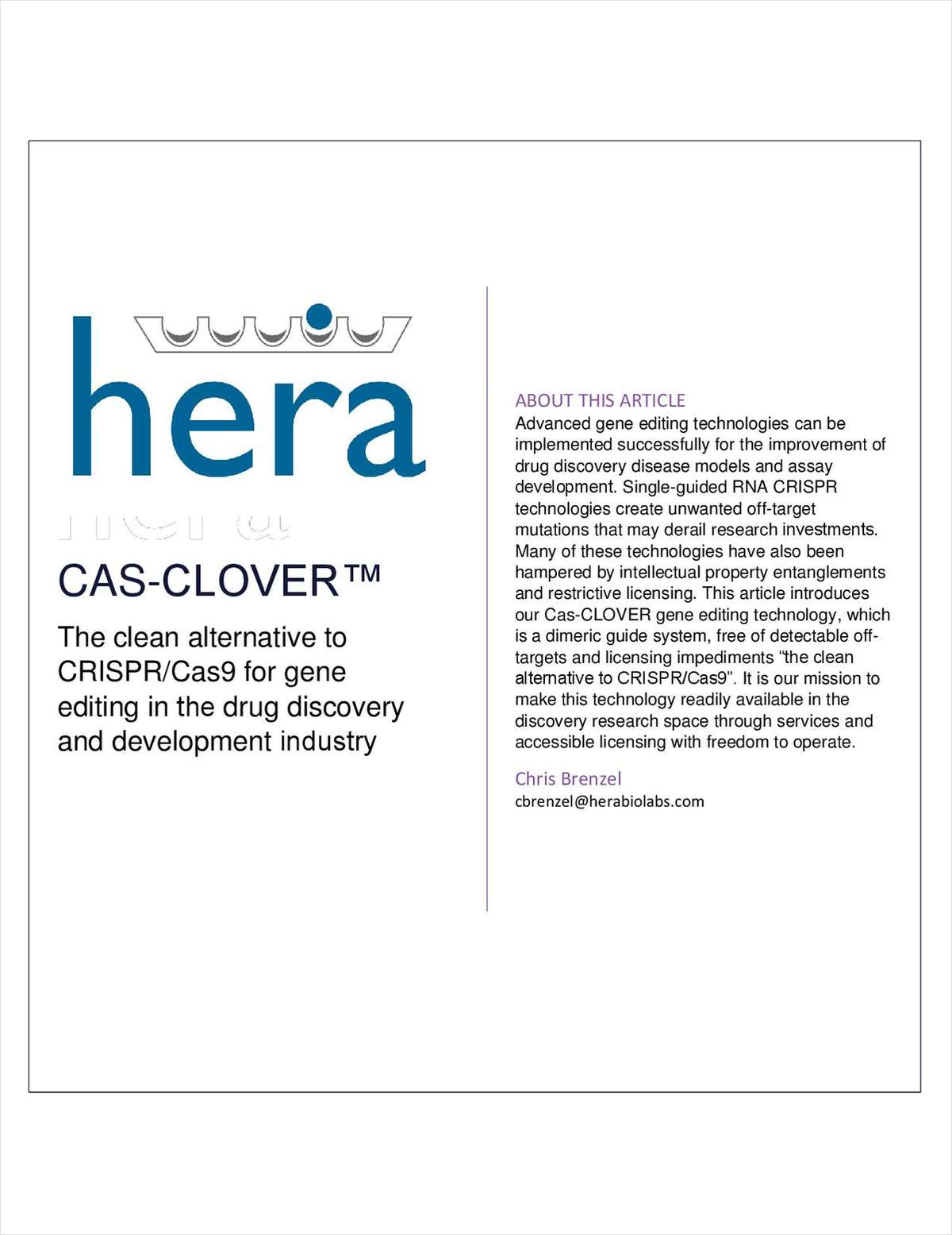 CAS-CLOVER The clean alternative to CRISPR/Cas9 for gene editing in the drug discovery and development industry