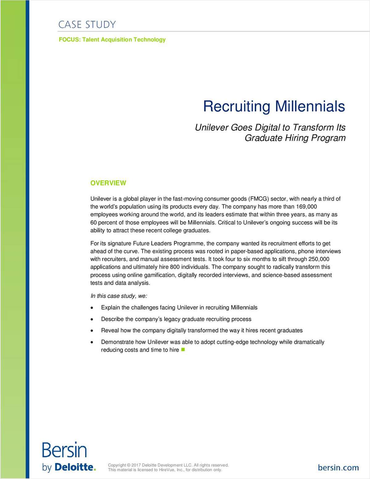 Recruiting Millennials: Unilever Goes Digital to Transform Its Graduate Hiring Program
