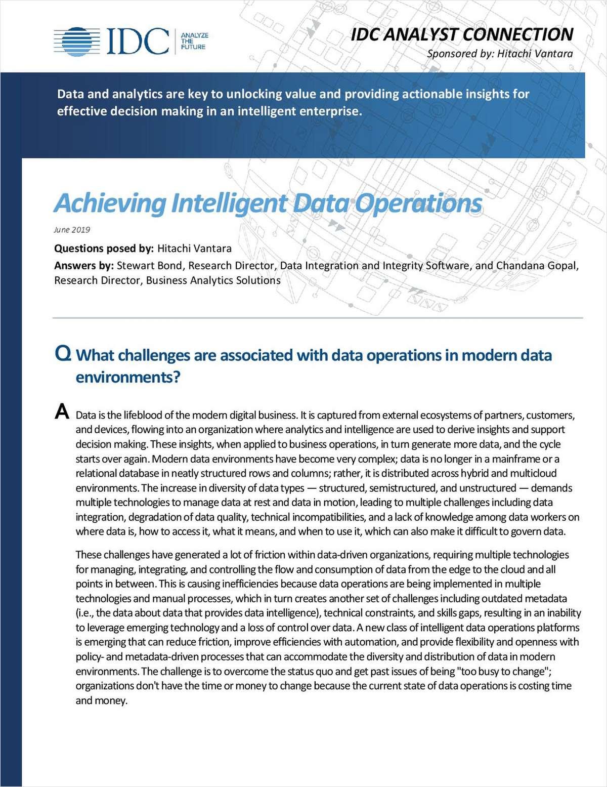 Achieving Intelligent DataOperations