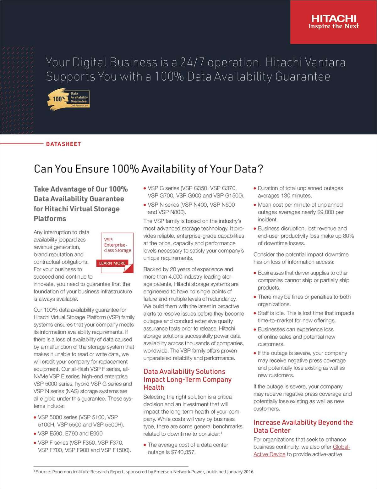 Ensure Data Availability for VSP