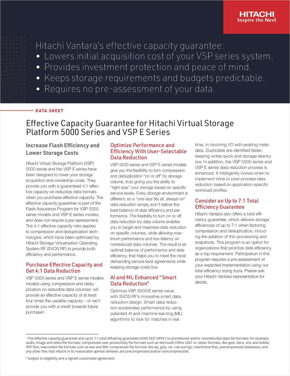 Effective Capacity Guarantee for VSP 5000 Series e990