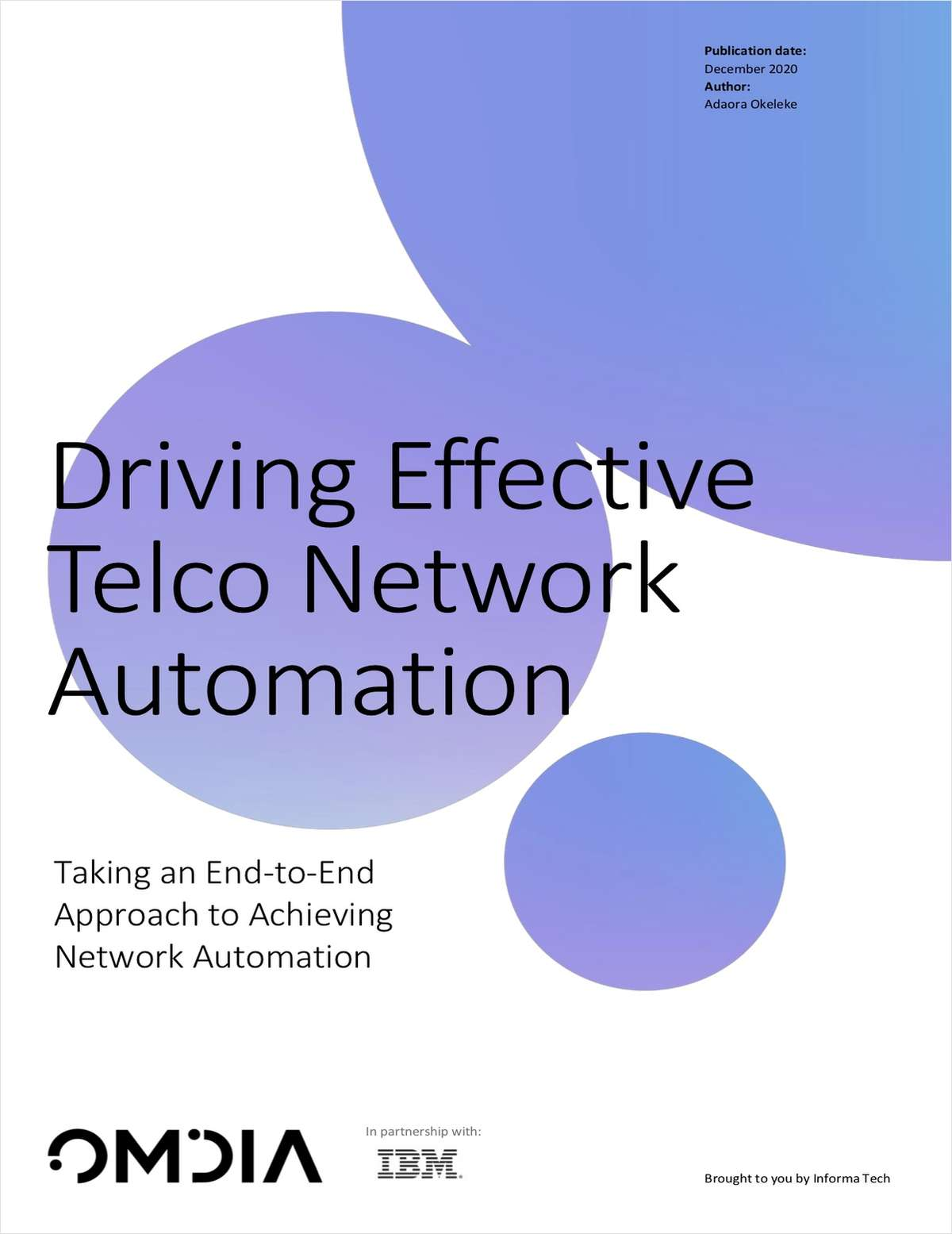 Omdia White Paper: Driving effective Network Automation