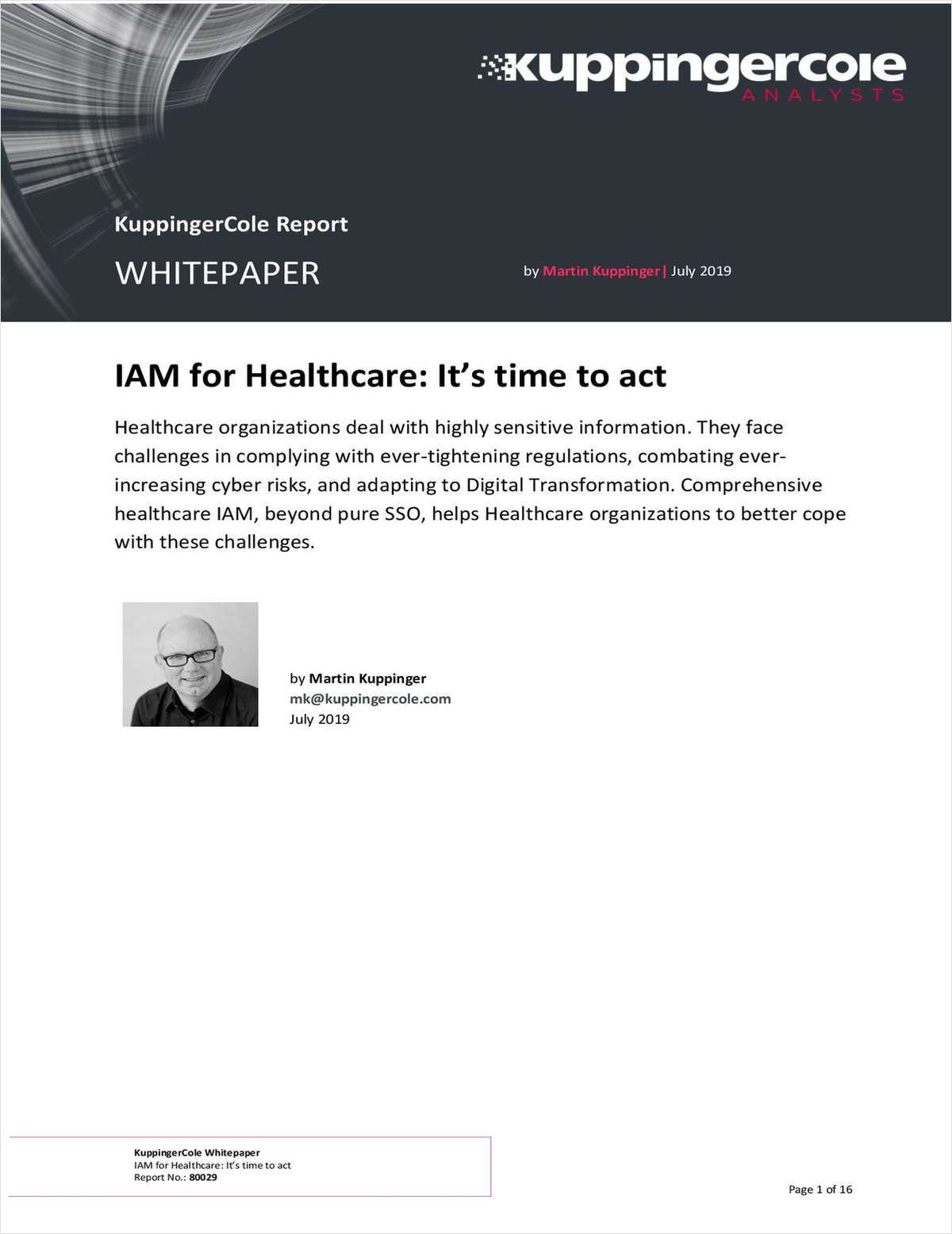 [KuppingerCole Report] IAM in Healthcare: It's time to act