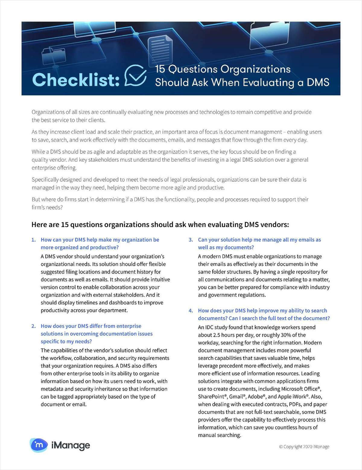 15 Questions Law Firms Should Ask When Evaluating a DMS
