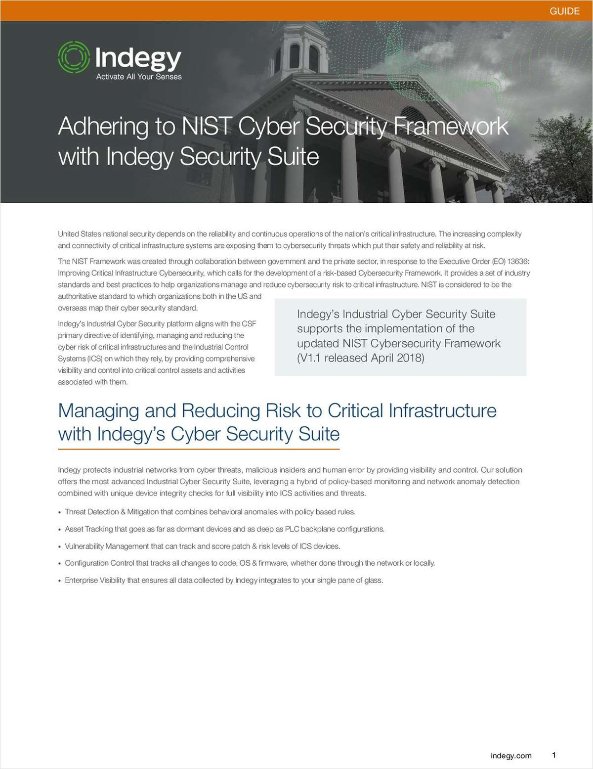 Adhering to the NIST Cybersecurity Framework, Free Indegy