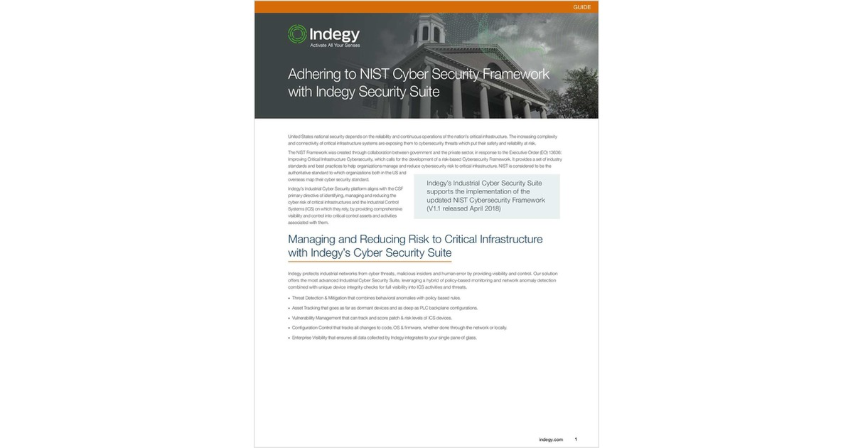 Adhering to the NIST Cybersecurity Framework, Free Indegy White Paper