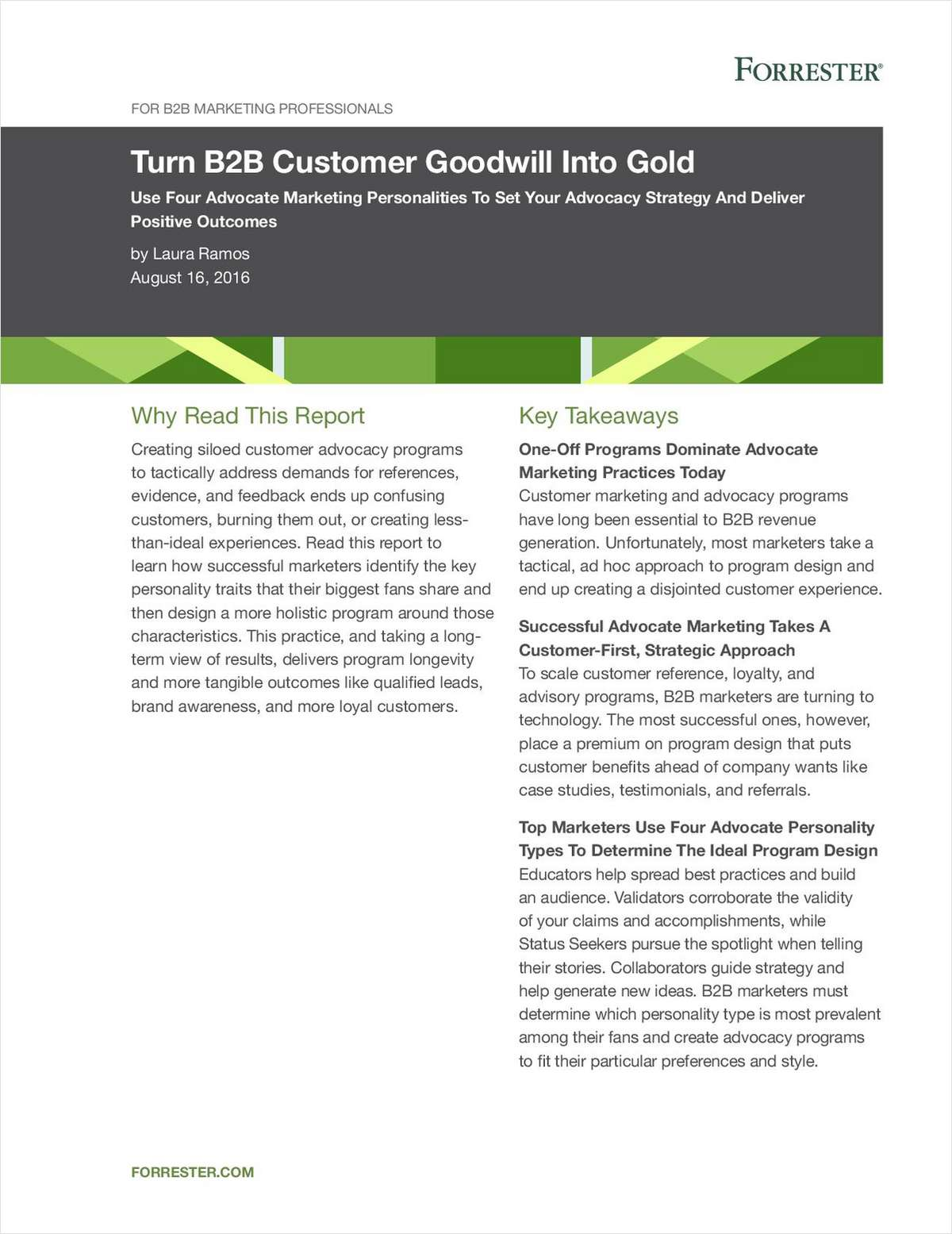 Forrester Report: Turn B2B Customer Goodwill Into Gold