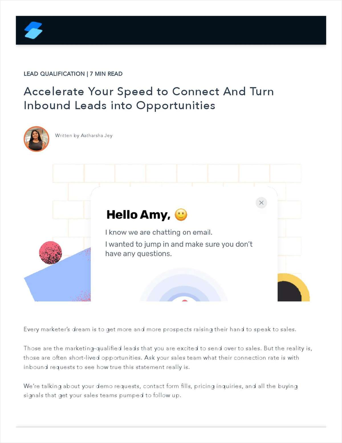 Accelerate Your Speed to Connect And Turn Inbound Leads into Opportunities
