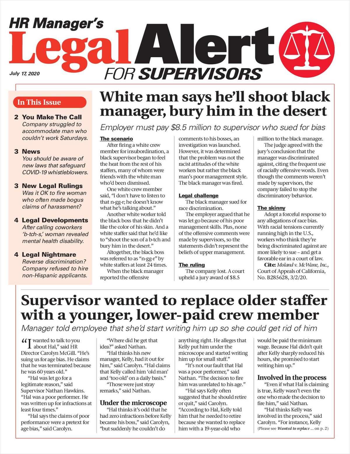 HR Manager's Legal Alert For Supervisors Newsletter