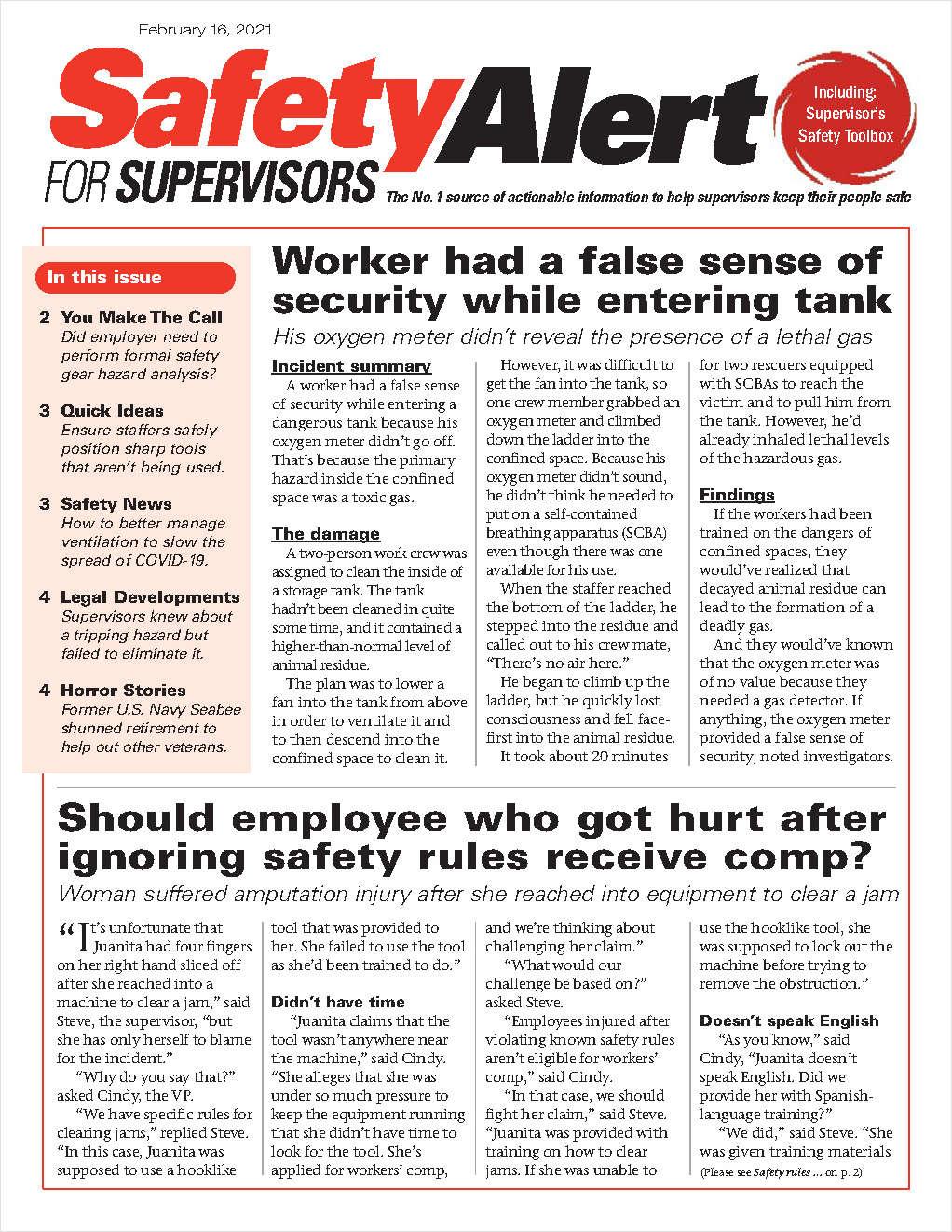 Safety Alert for Supervisors Newsletter