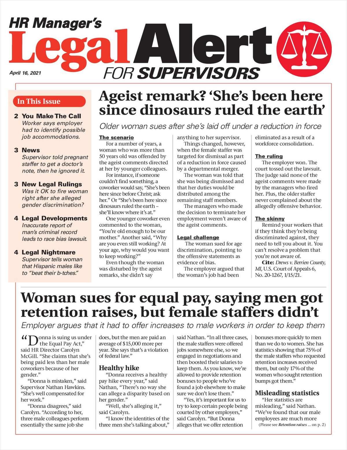 HR Manager's Legal Alert for Supervisors Newsletter: April 16 Edition