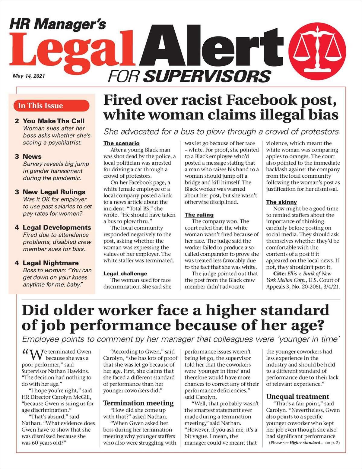 HR Manager's Legal Alert for Supervisors Newsletter: May 14 Edition