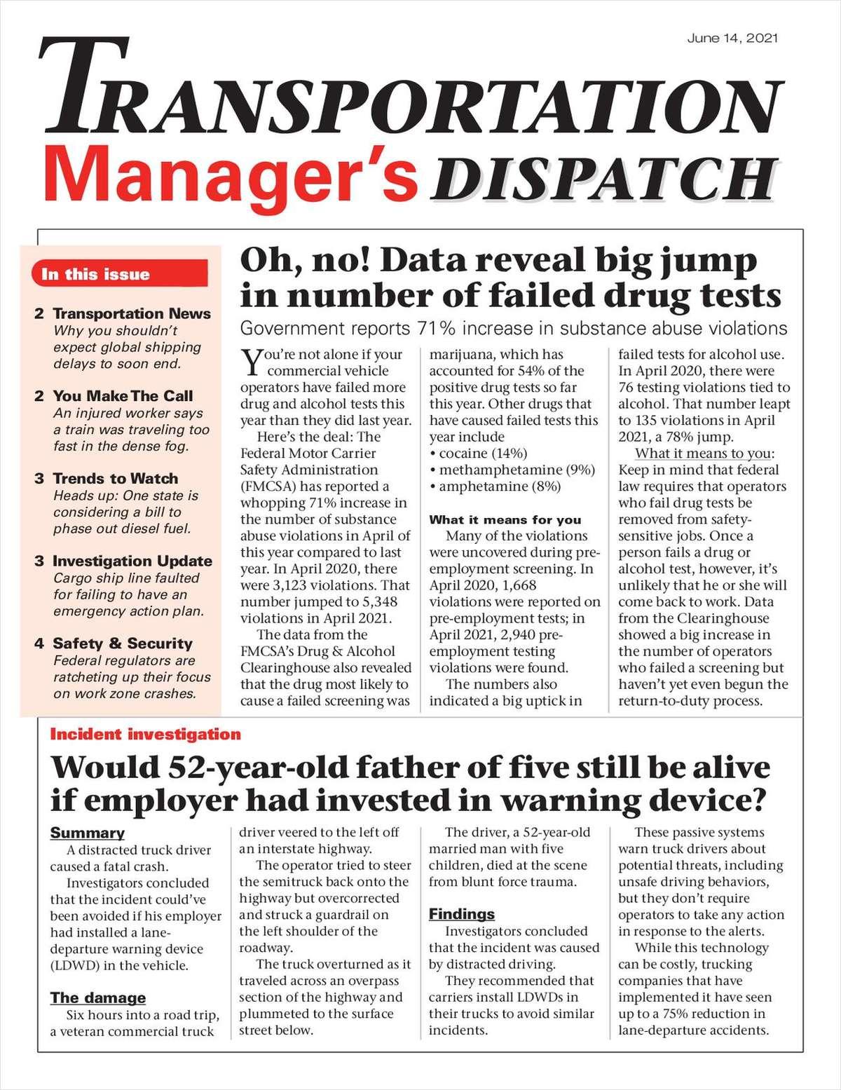 Transportation Manager's Dispatch Newsletter: June 14, 2021, Issue