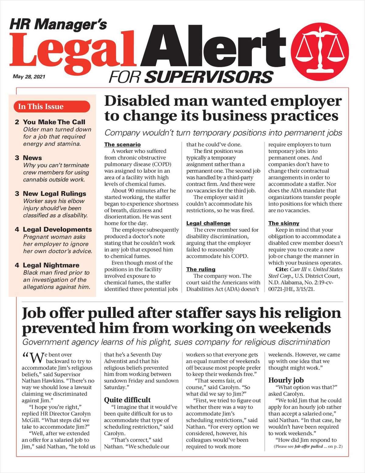 HR Manager's Legal Alert for Supervisors Newsletter: May 28 Edition