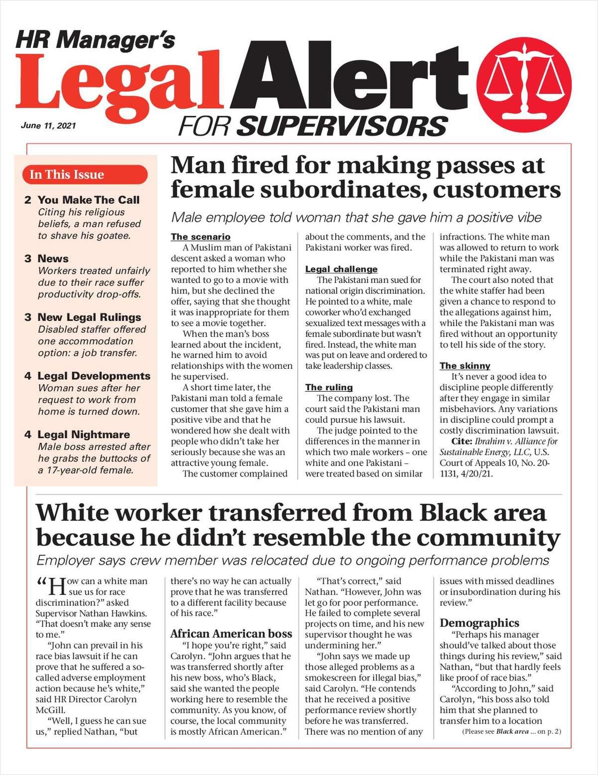 HR Manager's Legal Alert for Supervisors Newsletter: June 11 Edition