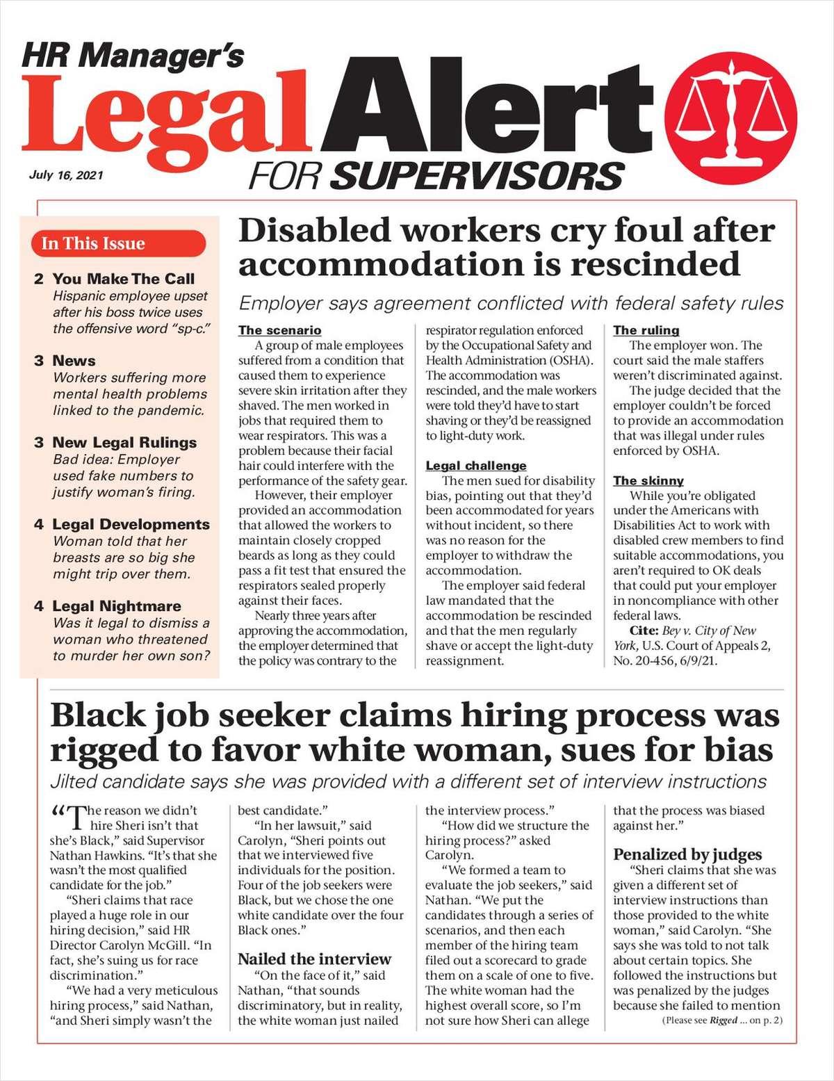 HR Manager's Legal Alert for Supervisors Newsletter: July 16 Edition