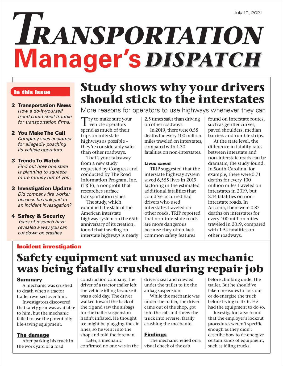 Transportation Manager's Dispatch Newsletter: July 19 Issue