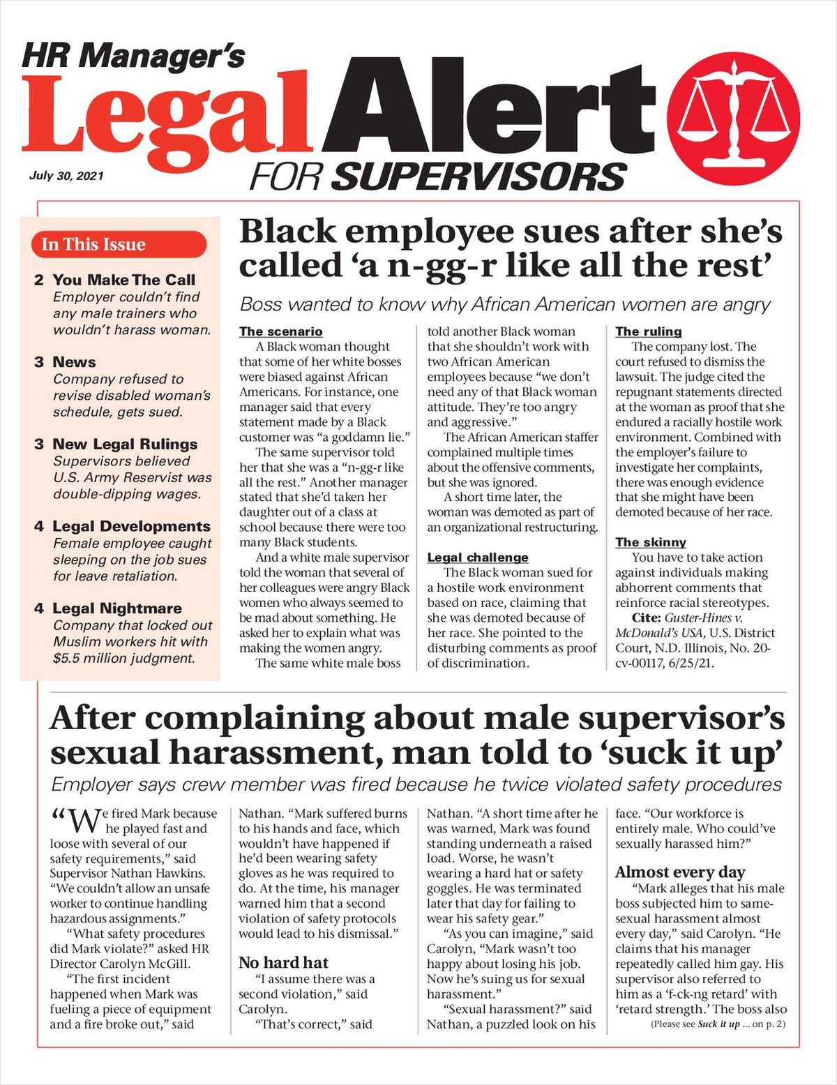 HR Manager's Legal Alert for Supervisors Newsletter: July 30 Edition