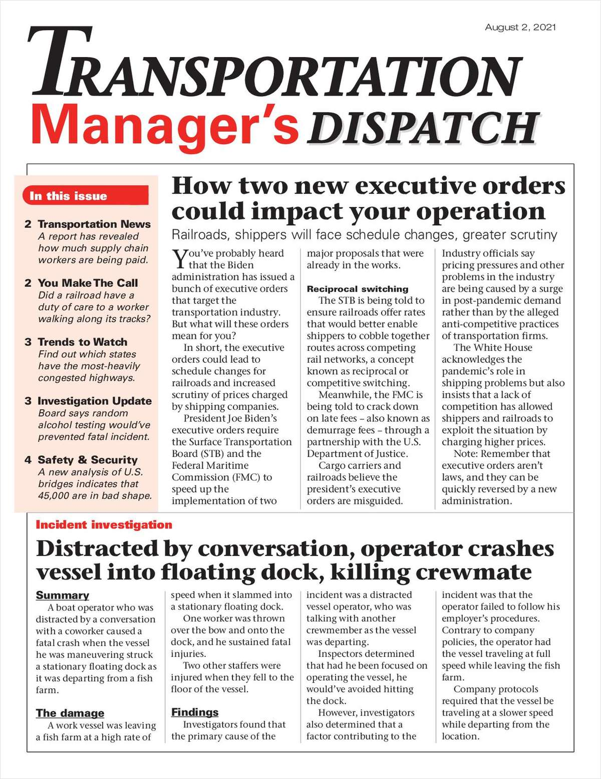 Transportation Manager's Dispatch Newsletter: August 2 Issue