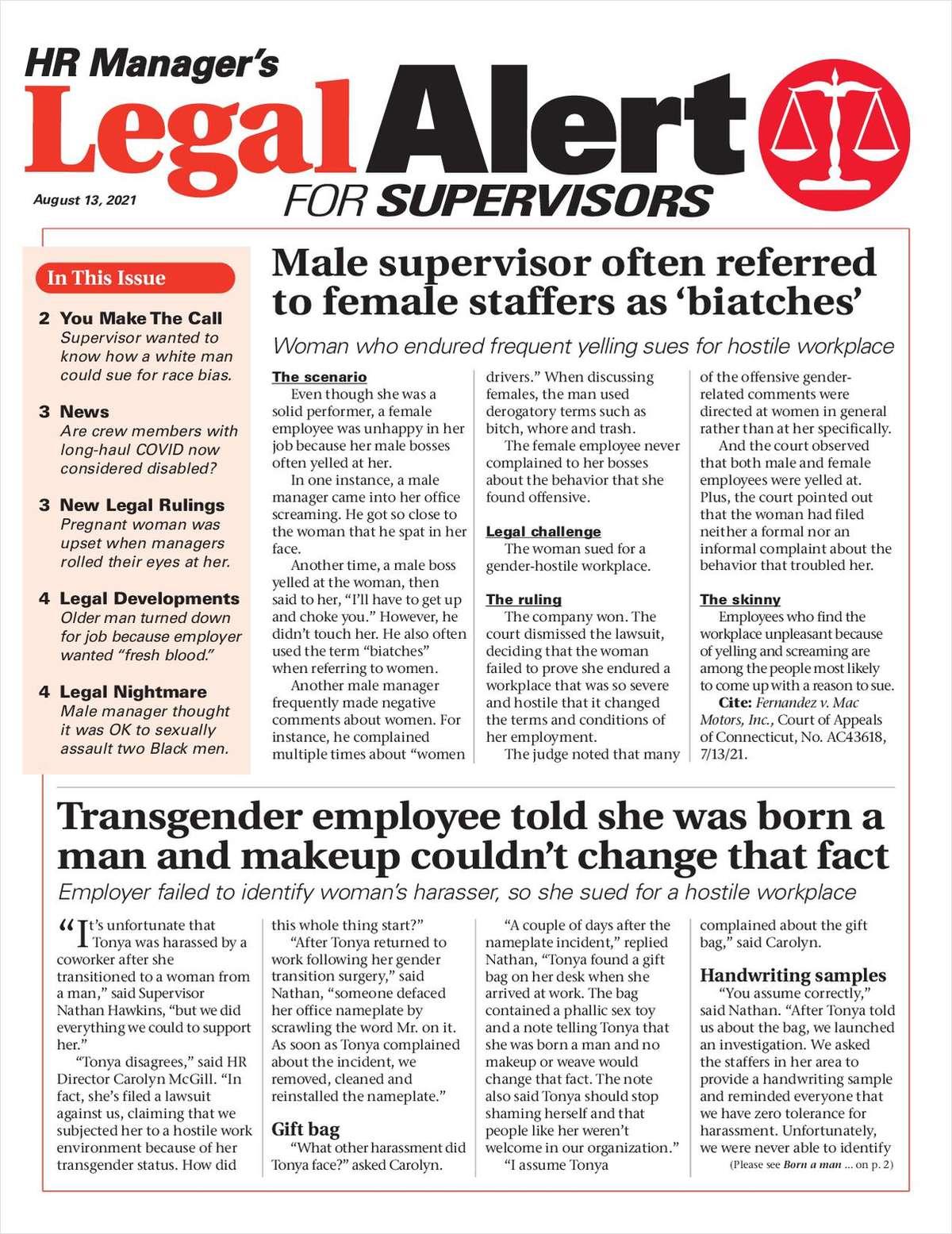 HR Manager's Legal Alert for Supervisors Newsletter: August 13 Edition