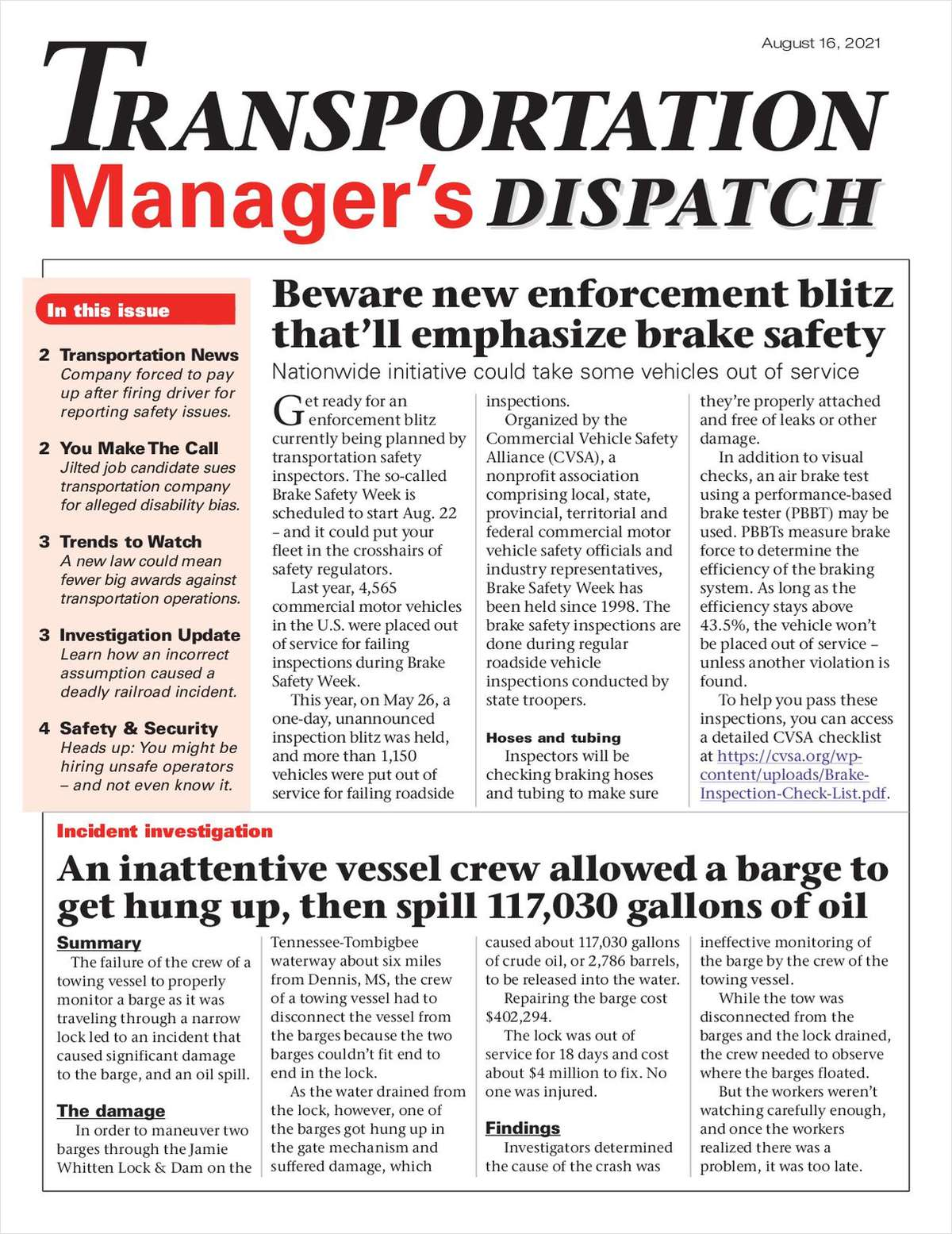 Transportation Manager's Dispatch Newsletter: August 16 Issue