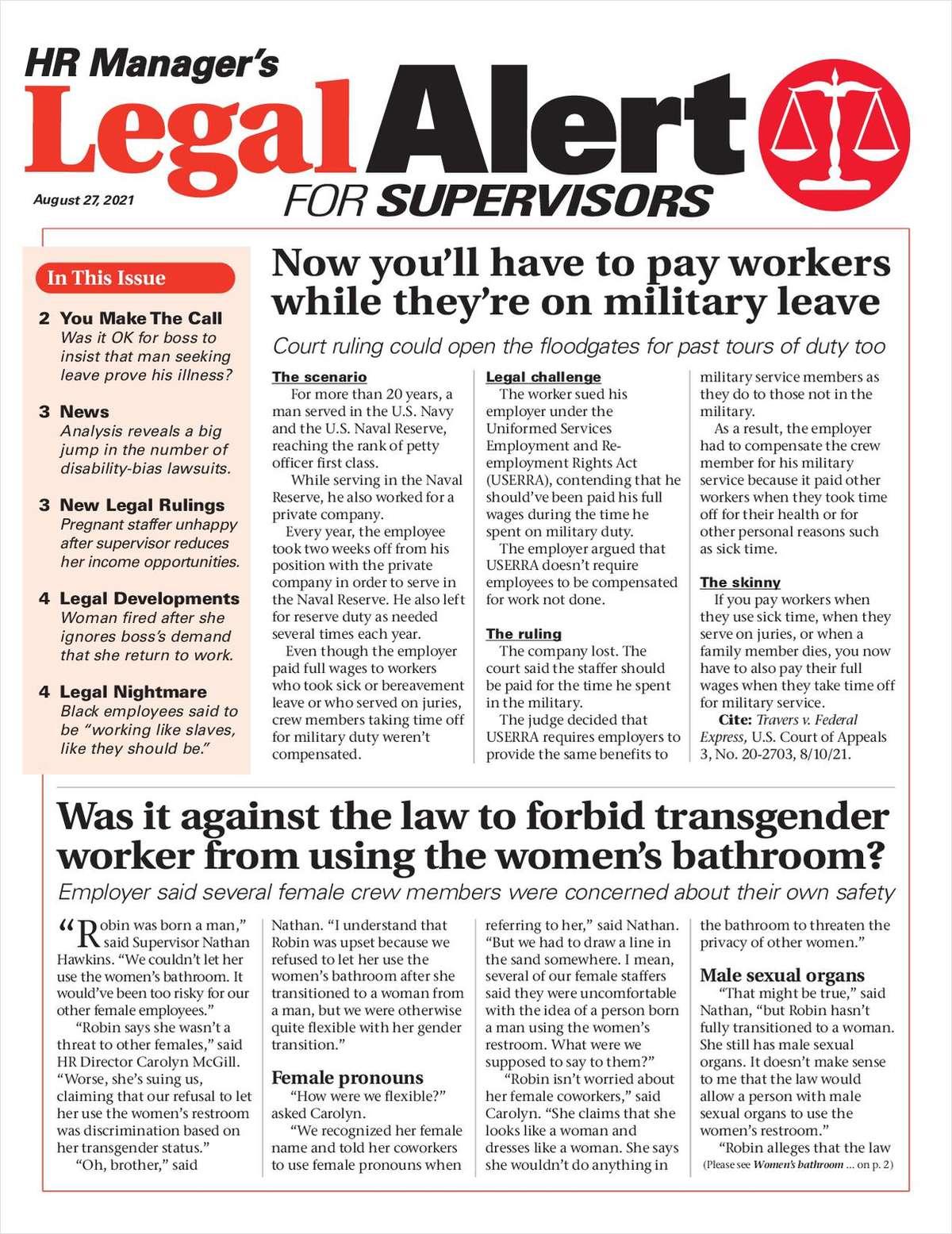 HR Manager's Legal Alert for Supervisors Newsletter: August 27 Edition