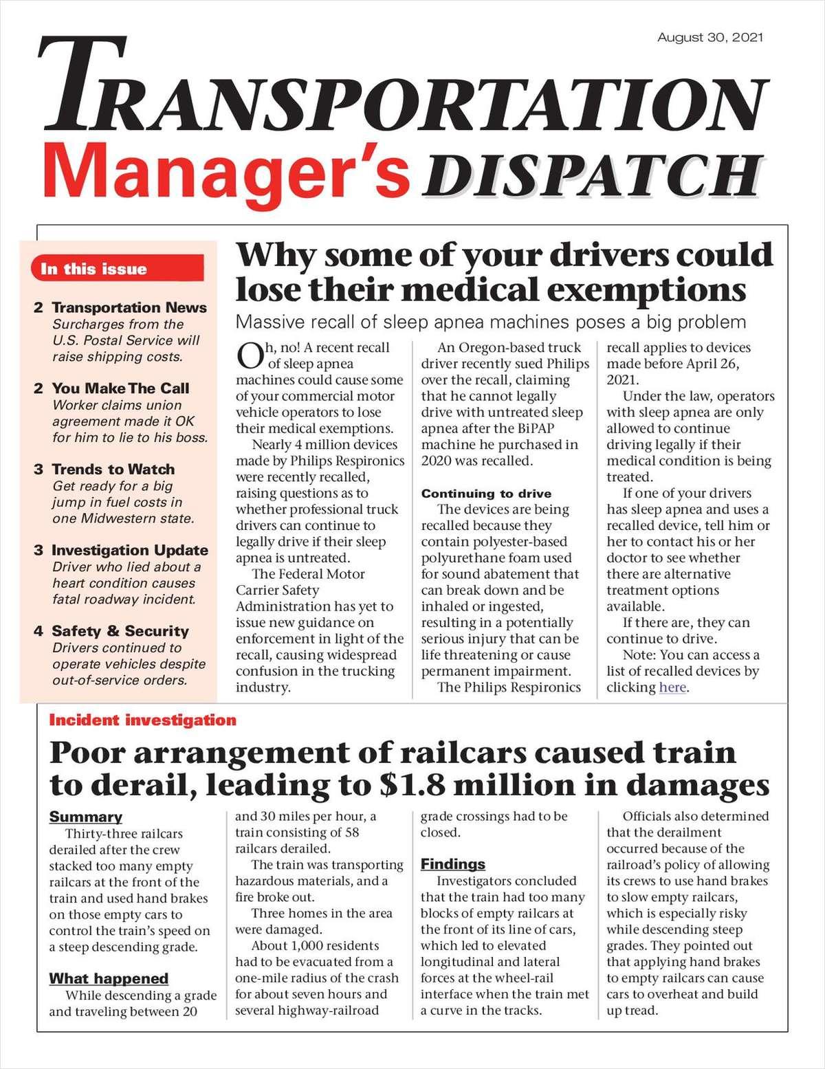 Transportation Manager's Dispatch Newsletter: September 13 Issue