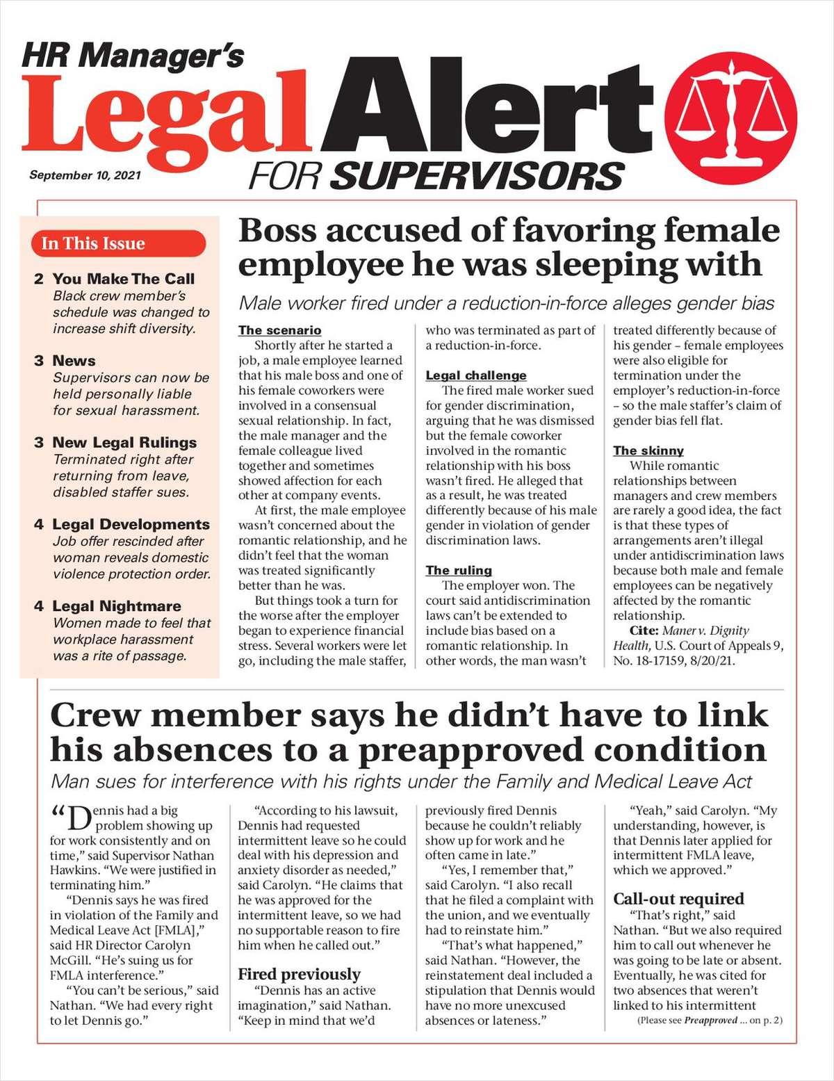 HR Manager's Legal Alert for Supervisors Newsletter: September 10 Edition