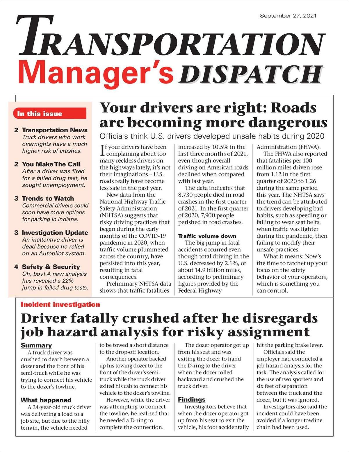 Transportation Manager's Dispatch Newsletter: September 27 Issue