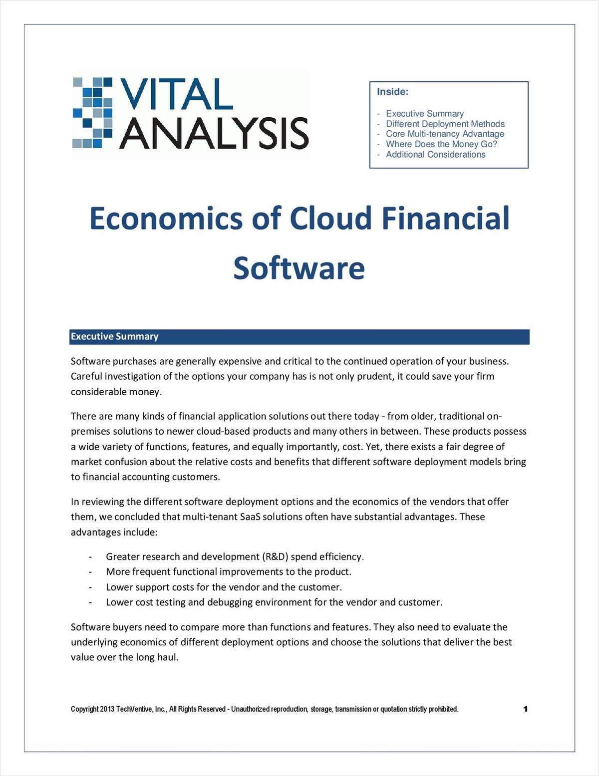 Economics of Cloud Financial Software
