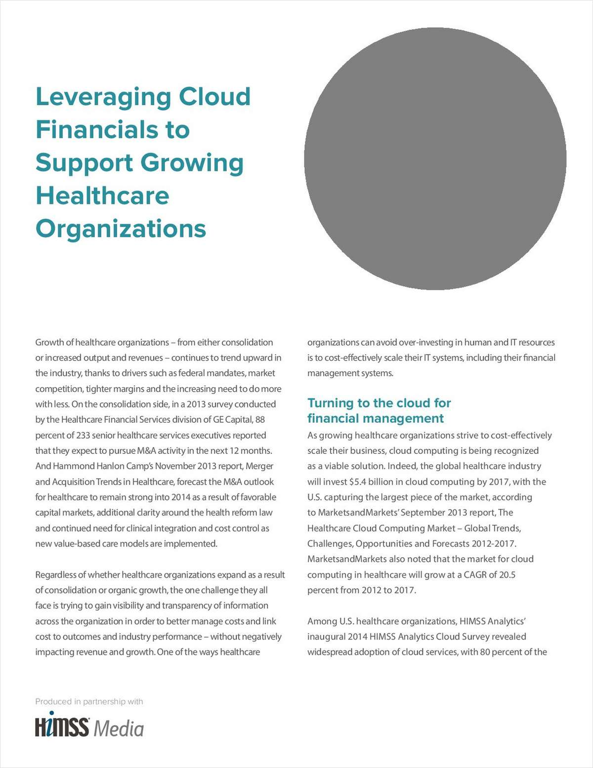 Leveraging Cloud Financials to Support Growing Healthcare Organizations