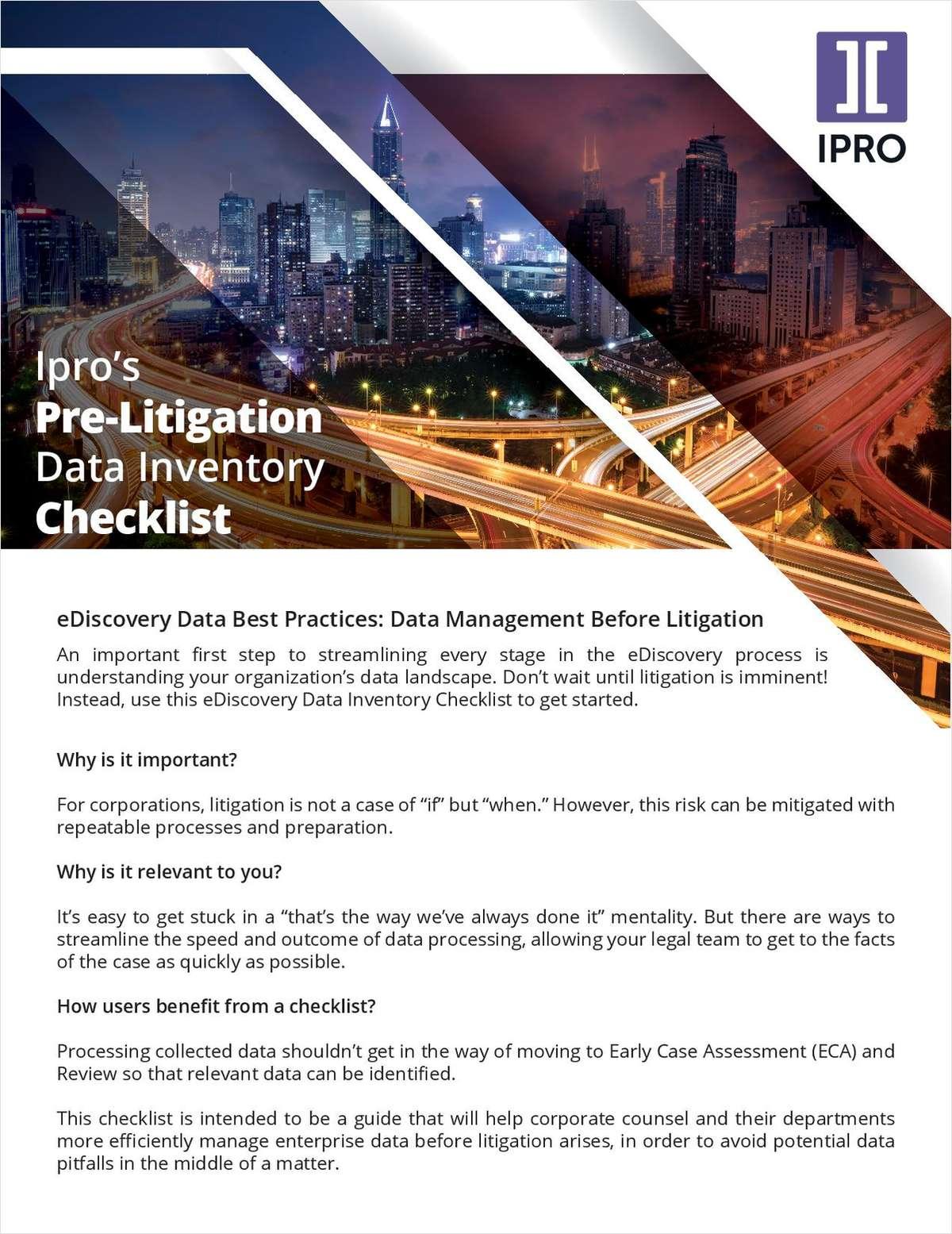 Pre-Litigation Data Inventory Checklist