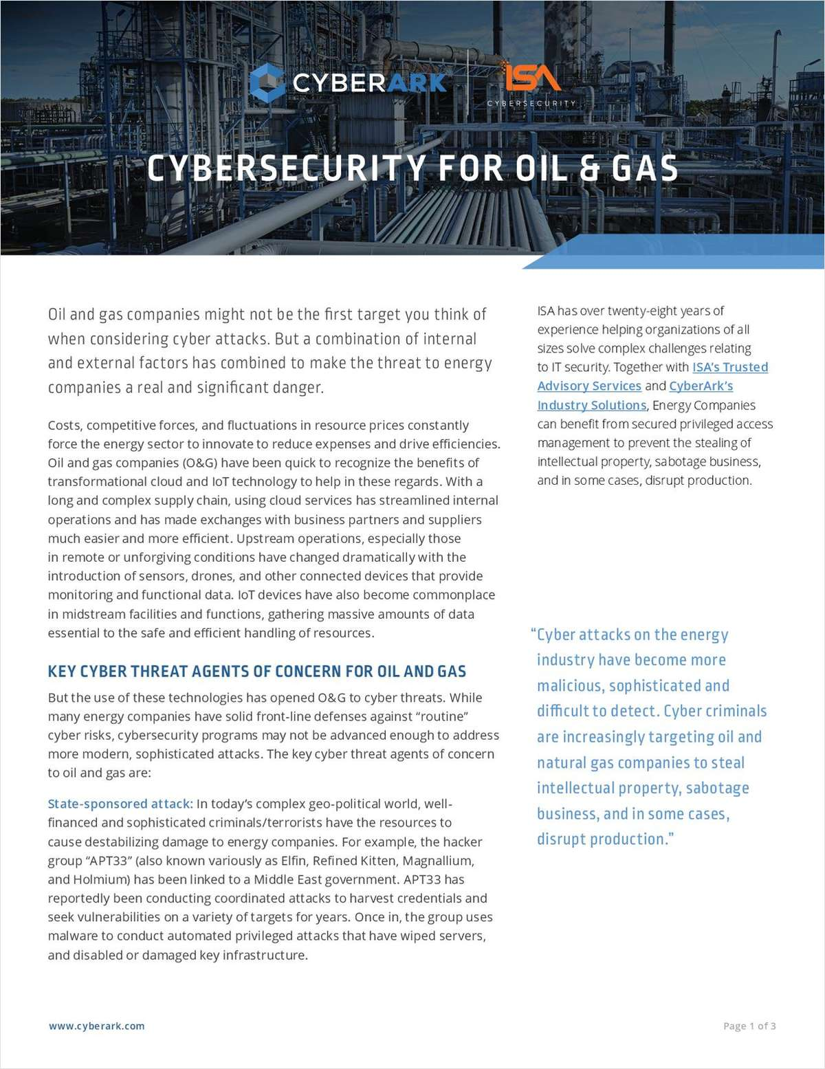 Cybersecurity for Oil & Gas