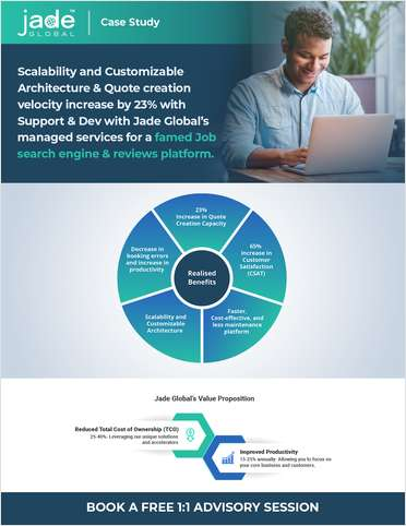 Scalability and Customizable Architecture & Quote creation velocity increase by 23% with Support & Dev with Jade Global's managed services for a famed Job search engine & reviews platform.