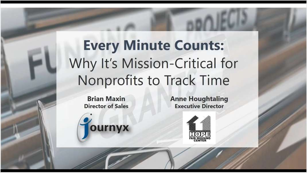WEBINAR - Every Minute Counts: Why It's Mission Critical for Nonprofits to Track Time