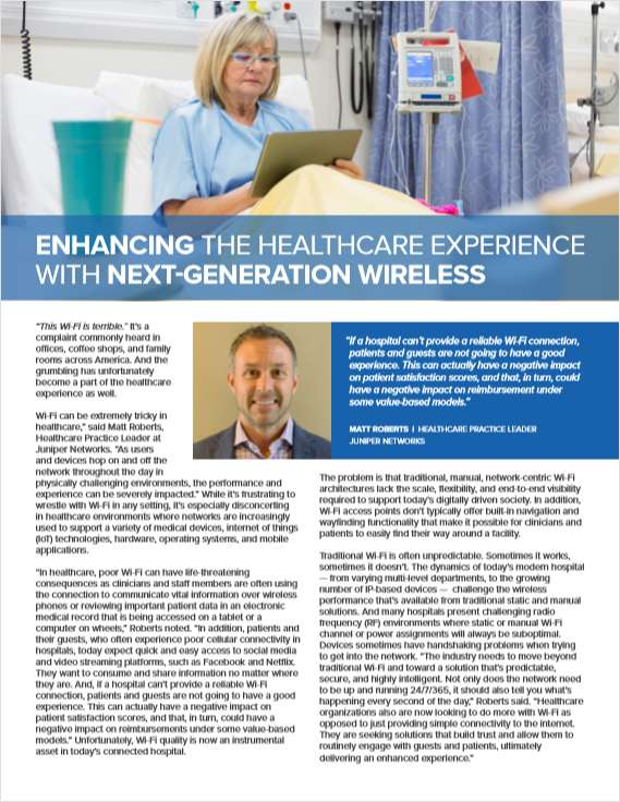 Enhancing the Healthcare Experience with Next-Generation Wireless